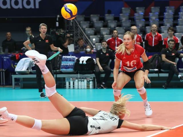 die Schweizer Volleyballerinnen.