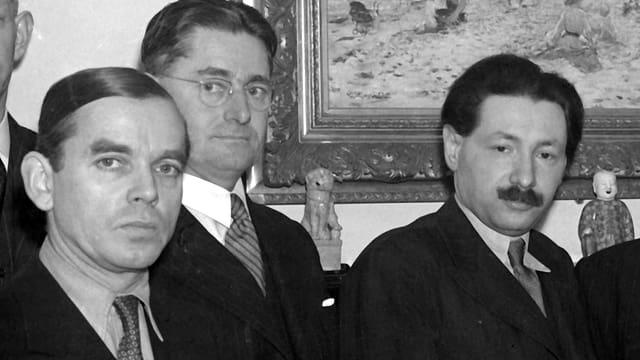 Historische Schwarzweiss-Fotografie der drei Forscher