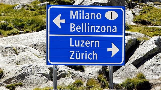Verkehrstafel auf dem Gotthardpass. Links geht es ins Tessin, rechts in die Deutschschweiz