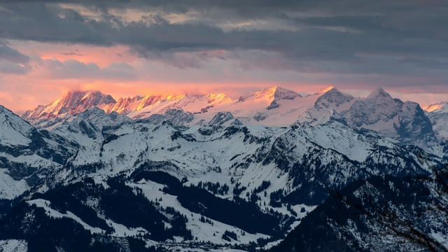 Blick von der Rigi Richtung Alpen am 23. Dezember 2020.