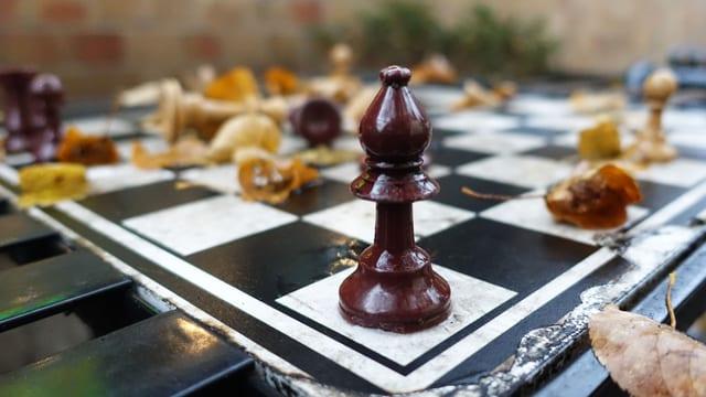 Schachfigur und Laub auf verwittertem Schachbrett.