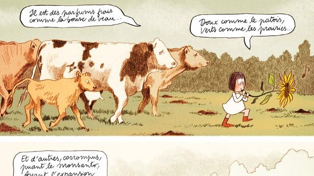 Comic eines Mädchens auf einer Kuhwiese.