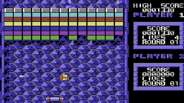 Ein Bildschirmfoto des Commodore-64-Games «Arkanoid»