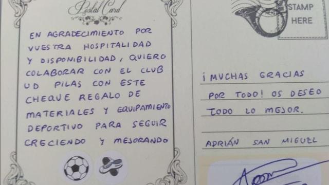 Der Brief von Adrian an die UD Pilas.