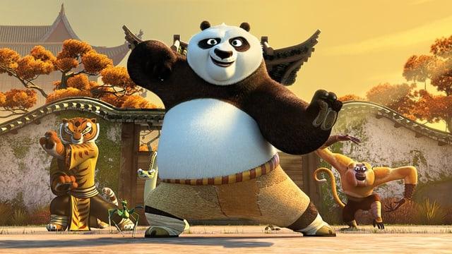 Kung Fu Panda mit seinen treusten Gefährten.