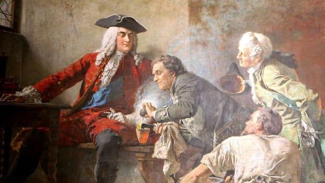 Vier Personen auf einem Gemälde, die aufmerksam den Vorgang der Porzellanherstellung beobachten.