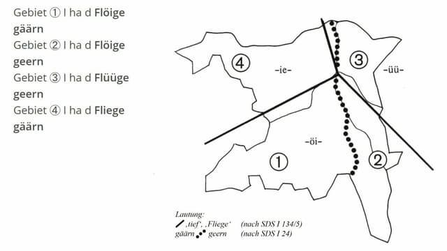 Karte des Aargaus. Der Kanton ist dabei in vier Mundartregionen unterteilt.