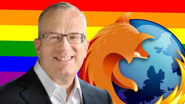 Portrait des zurückgetretenen Mozilla-CEOs Brendan Eich vor dem Firefox-Logo und einer LGBT-Flagge