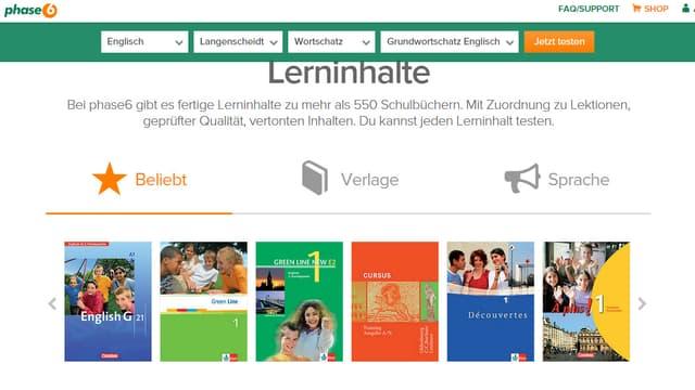 Auflistung von Sprachlehrmittel verschiedener Verlage