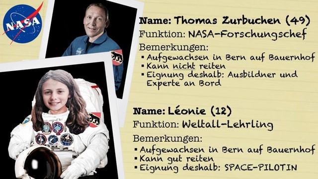 Kinderreporterin und Nasa-Forschungschef im Raumanzug