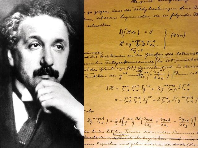 Eine Seite aus dem Originalmanuskript von Albert Einstein zur Allgemeinen Relativitätstheorie.
