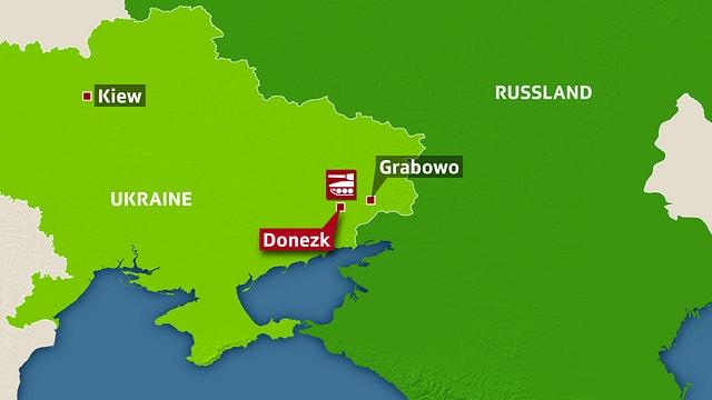 Karte: Städte wie Kiew und Donezk sind eingezeichnet