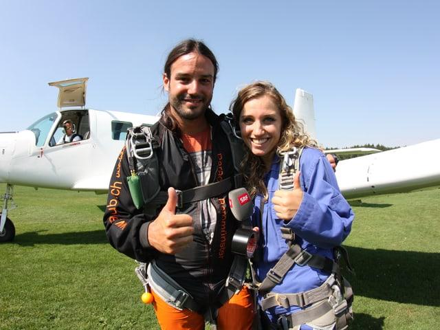 Florence Fischer mit ihrem Instruktor Serge.
