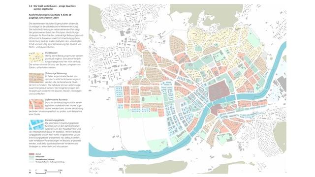 Plan der Stadt Solothurn mit bunten Flächen.