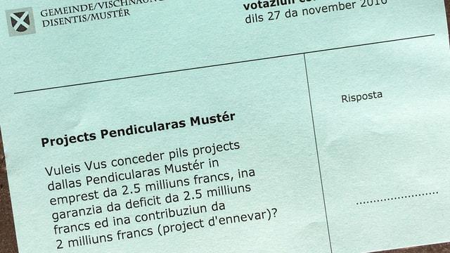 Quest cedel da votar dat da discurrer a Mustér.