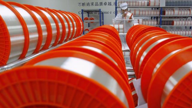 Eine Fabrik für Glasfaserkabel in China