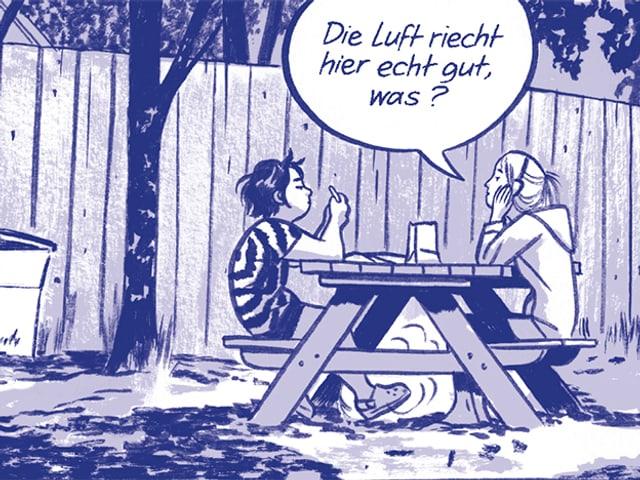"""Blaue Zeichnung: Zwei Mädchen sitzen essend an einem Tisch, eines sagt: """"Die luft riecht hier echt gut, nicht?"""""""