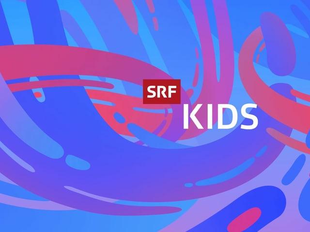 Schrift SRF Kids vor farbigem Hintergrund