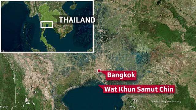 Karte von Bangkok mit der Lage des Wat Khun Samut Chin vor Bangkok.