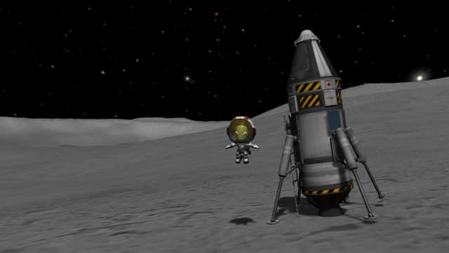 Valentina hüpft neben der gelandeten Rakete.