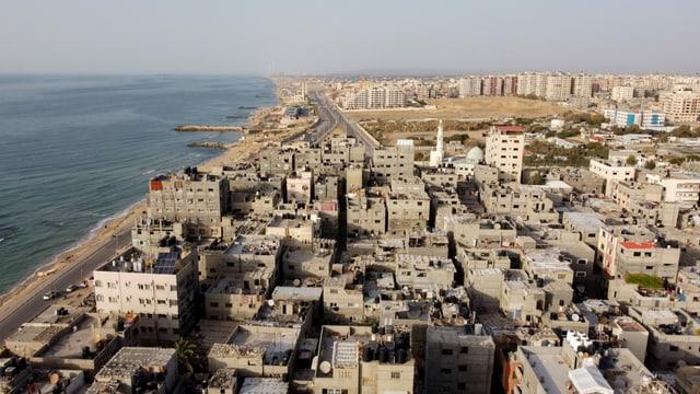 Blick auf Häuser im Gaza-Streifen