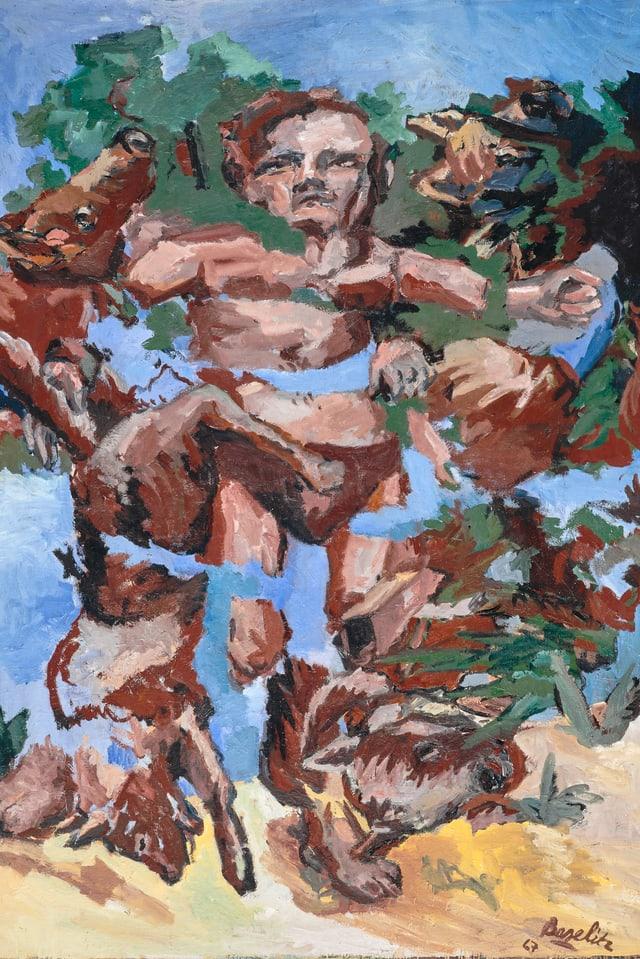 Ein Gemälde von Baselitz. Es zeigt einen Mann, der in Stücke gerissen wurde.
