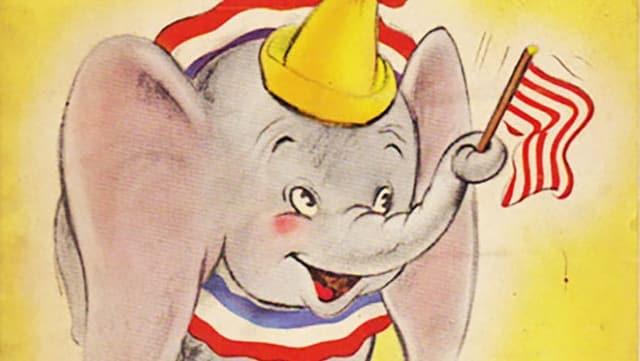 Ausschnitt aus einem Buchcover, darauf zu sehen ein lachender Elefant, der mit dem Rüssel eine Fahne schwingt