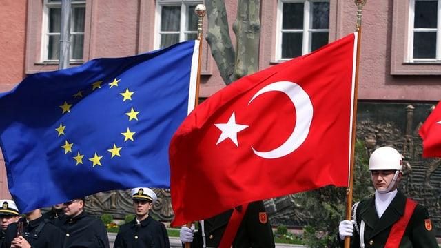 Bandieras da l'UE e la Tirchia.