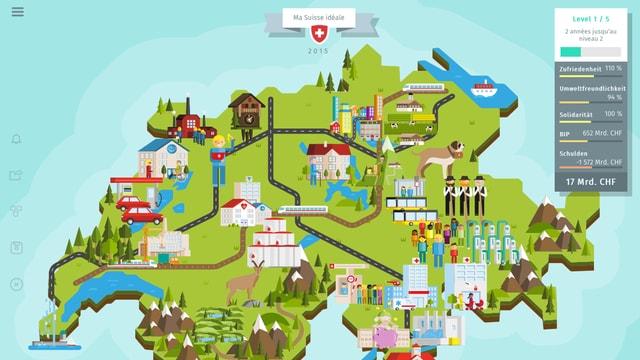 Grafik Umriss der Schweiz mit vielen Bildern von Institutionen (Schule, Spital, Eisenbahn etc.)