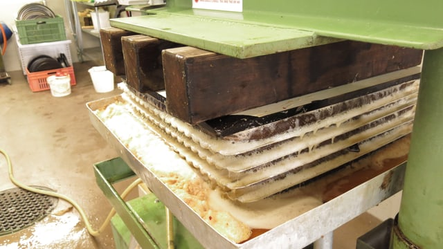 Schichten von Apfelstücken werden gepresst.