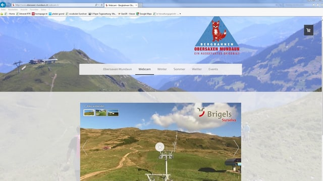 La camera-web da Breil sin la pagina d'internet obersaxen-mundaun.ch.