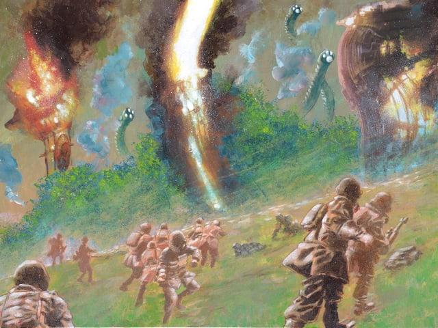 Eine Darstellung eines Schlachtfelds, aucf der Soldaten gegen riesige Rüssel kämpfen.