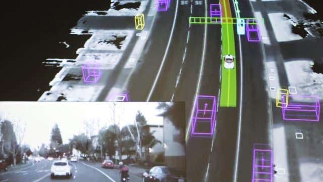 Bildschirmansicht aus einem selbstfahrenden Auto von Google