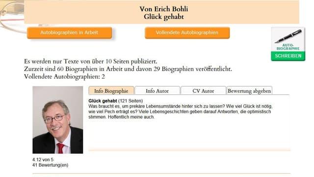 Screenshot Meet My Life, Autobiographie von Erich Bohli