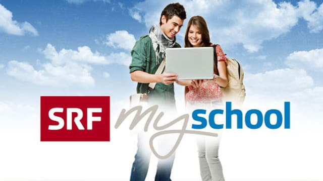 Das Logo von SRF mySchool. Zwei Jugendliche blicken in einen Laptop.