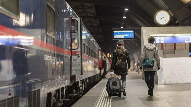 Menschen an Bahnhof vor Nachtzug.