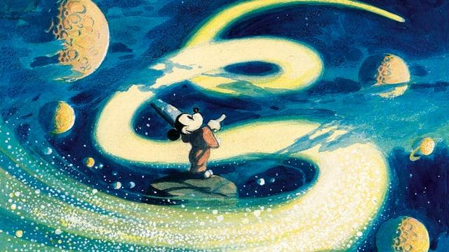 Mickey Mouse zwischen Planeten.