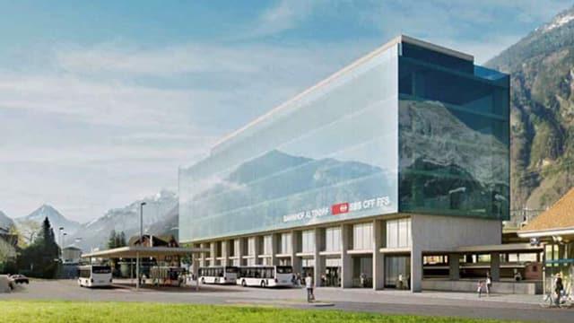 Eine Fotomontage des Bahnhofs Altdorf, wie er im Jahr 2021 aussehen soll.