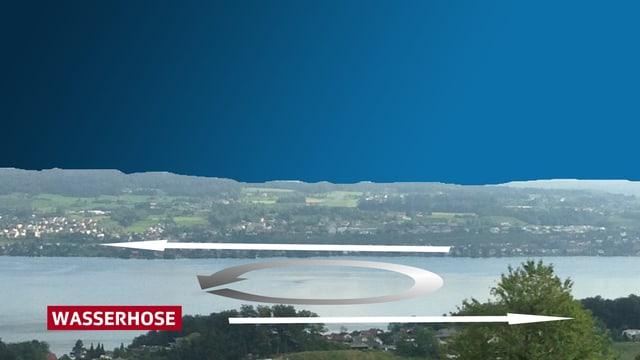 Zürichsee mit zwei Pfeilen: am Nordufer von rechts nach links, am Südufer von links nach rechts. Dazwischen ein Kreis (Roation)