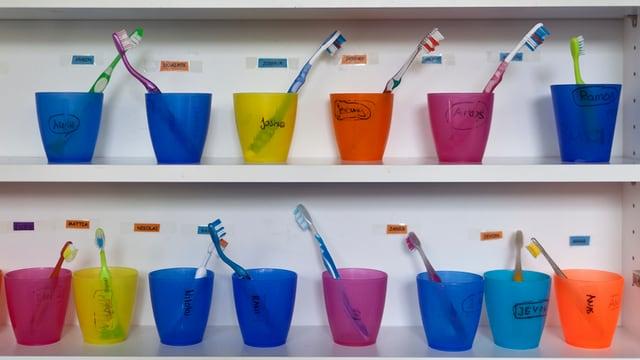 Plastikbecher mit Zahnbürsten drin