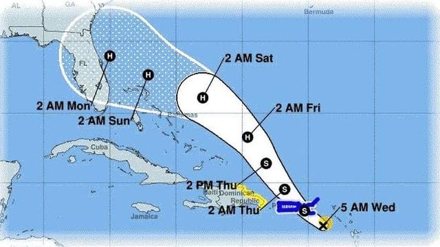 Auf einer Karte ist die mögliche Zugbahn des Hurrikans  dargestellt.