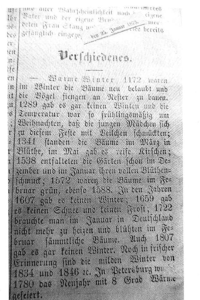 Ausschnitt eines Zeitungsartikels aus dem Jahre 1873
