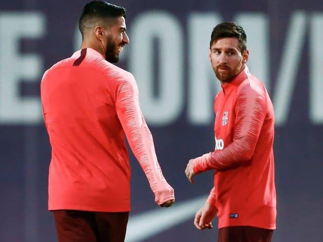 Luis Suarez (links) und Lionel Messi im Training in Barcelona