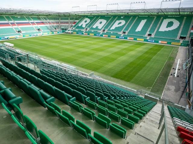 Das leere Stadion von Rapid Wien