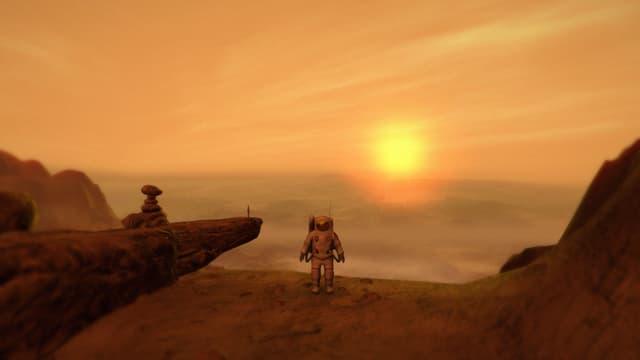Der Astronaut steht vor dem Sonnenuntergang und einer dünnen Figur.