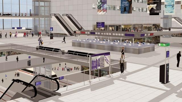 Eine Computeranimation zeigt das Innere des neuen Flughafens.