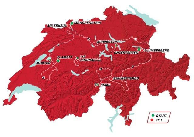 Etappenplan der Tour de Suisse.