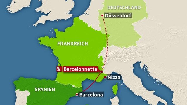 Die geplante Flugroute der Germanwings-Maschine.