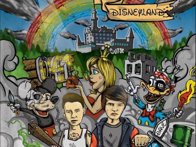 Comic zeigt zwei Lozärner im Disneyland, links ist ein Mickey Mouse, oben ein Regenbogen
