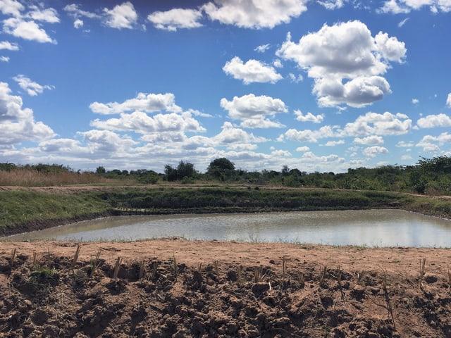 Künstlicher quadratischer Teich in der brauenen Erde für die Fischzucht, darüber ein blauer Himmer mit Wolken